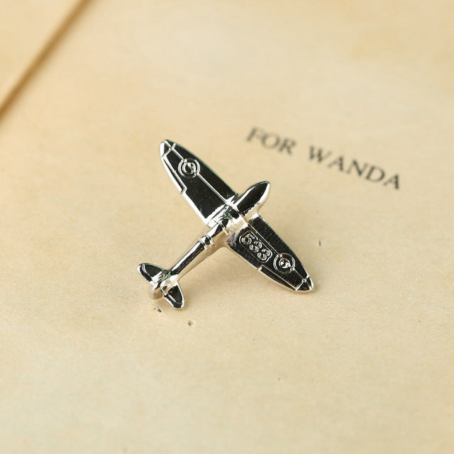 Mens Retro Aircraft Brooch Pin  Women's Sweater Suit Shirt Collar Pins