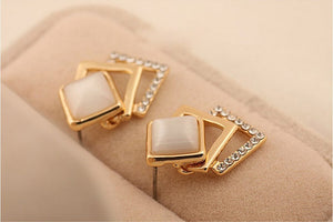 Gold Color Pierced Rhinestone Opal Square Stud Earrings