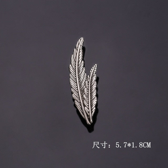 Retro Men Eagle Claw Feather Leaf Brooch Pin Jewelry