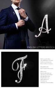 Metal Crystal English Letter Brooch Pin for Men