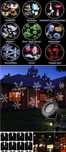 12 Patterns Christmas LED Laser Light Snowflake IP65 Waterproof Projector Lamp