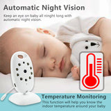 Wireless Baby Monitor Video Camera with Night Vision & Temperature Monitoring