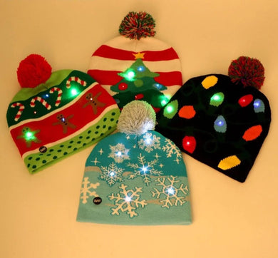 LED Christmas Light Up Knitted Beanie For Children Adult Christmas Party