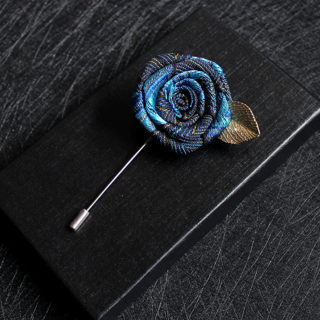 Long Needle Ribbon Rose Brooch Pins for Men's Suit Shirt
