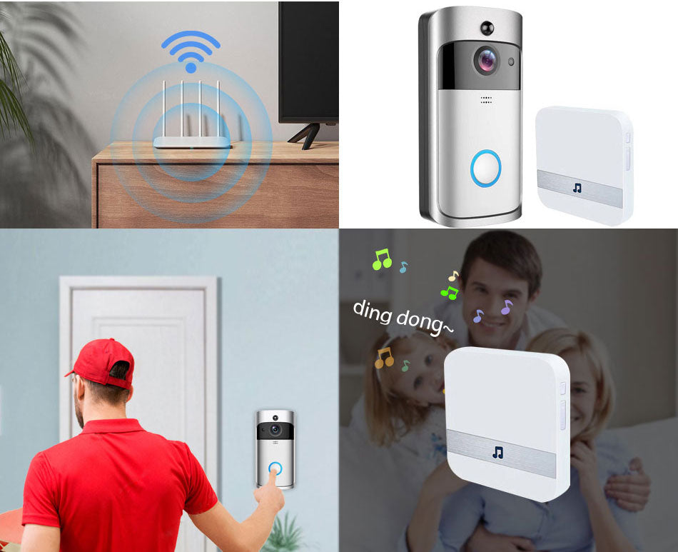 Smart Video Doorbell | Camera 720P | Visual Call Intercom | Infrared Night Vision | Remote Record | Home Security Monitoring