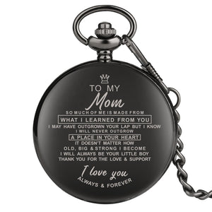 Engraved Greeting I LOVE YOU Quartz Pocket Watch Chain Clock Souvenir For Family