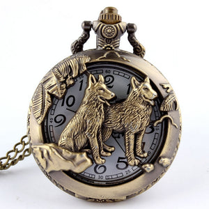 Retro Bronze Wolf Hollow Design Quartz FOB Chain Steampunk Watch