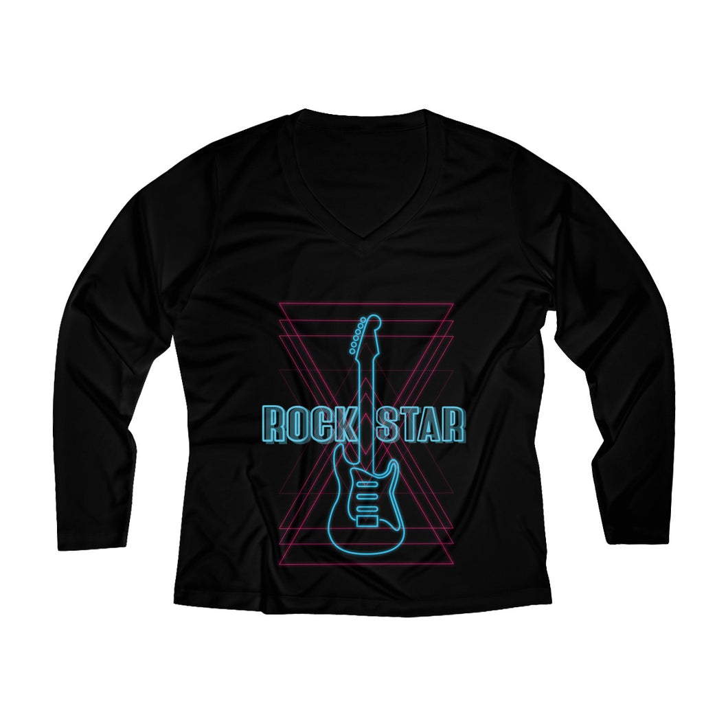 Rockstar Women's Long Sleeve Performance V-neck Tee