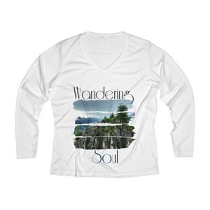 Wandering soul Women's Long Sleeve Performance V-neck Tee