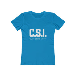 CSI white font Women's The Boyfriend Tee