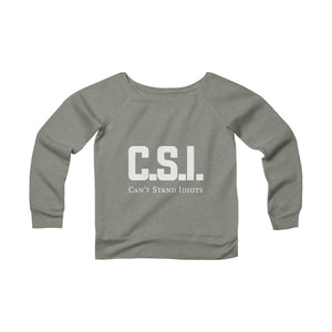CSI white font Women's Sponge Fleece Wide Neck Sweatshirt