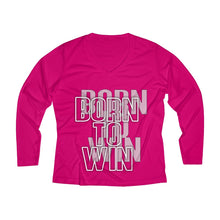 Load image into Gallery viewer, Born to win Women's Long Sleeve Performance V-neck Tee