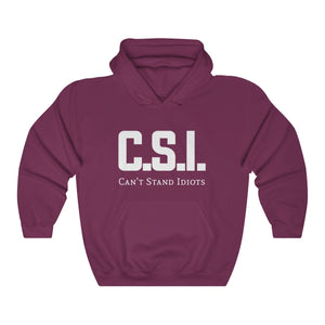 CSI white font Unisex Heavy Blend™ Hooded Sweatshirt