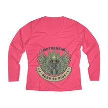 Load image into Gallery viewer, Born to ride Women's Long Sleeve Performance V-neck Tee