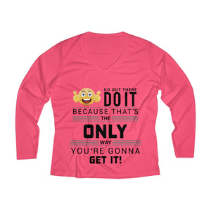 Get it Women's Long Sleeve Performance V-neck Tee