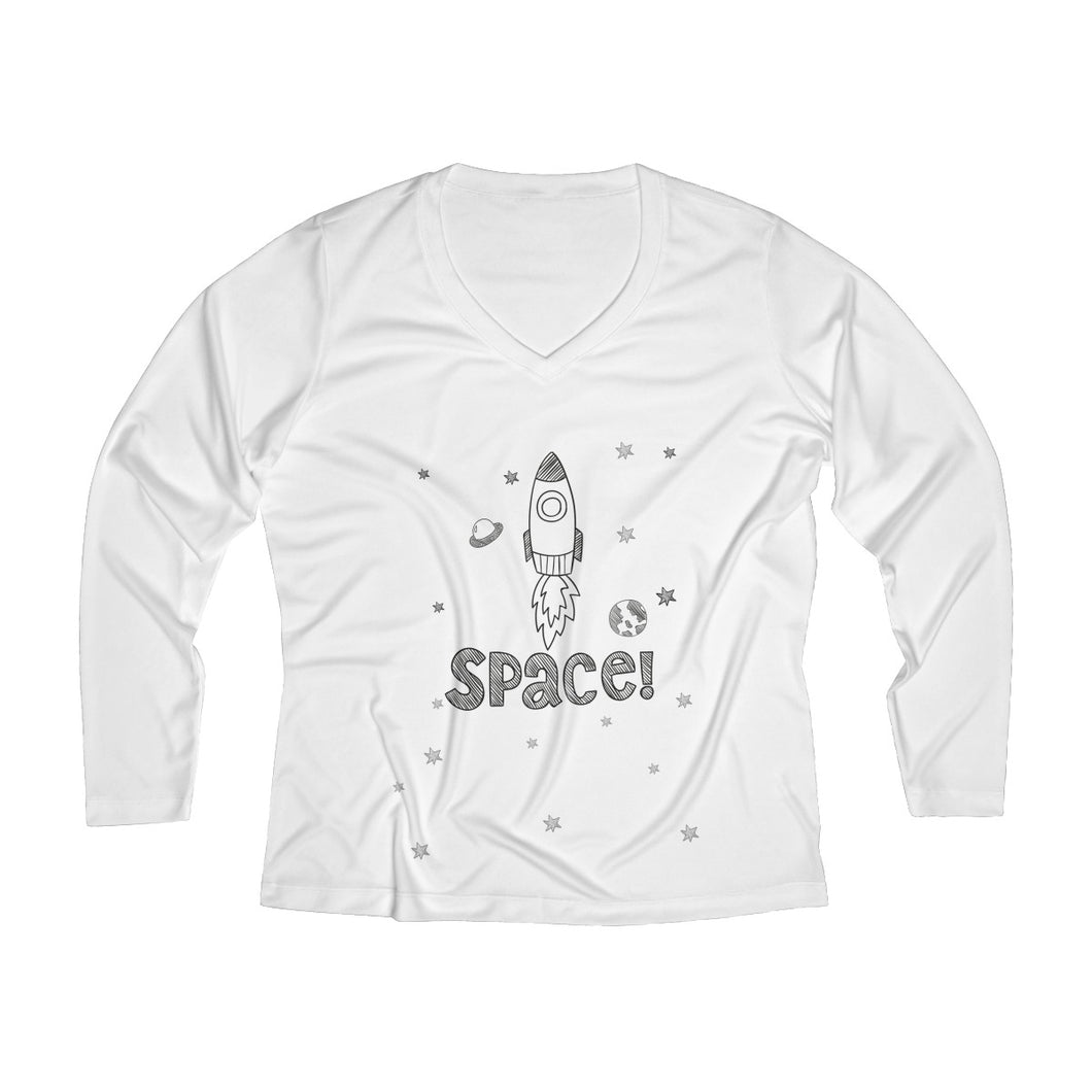 Space Women's Long Sleeve Performance V-neck Tee