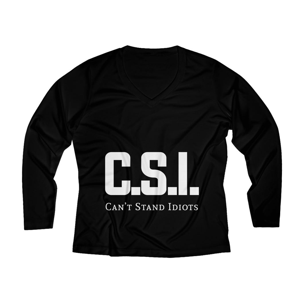 CSI white font Women's Long Sleeve Performance V-neck Tee