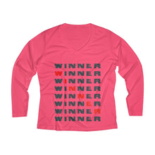 Load image into Gallery viewer, Winner Women's Long Sleeve Performance V-neck Tee