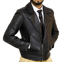 Load image into Gallery viewer, Front side look | Bonanza | Lecorium | Sheep/Lamb black premium leather jacket