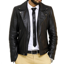Load image into Gallery viewer, Front look | Bonanza | Lecorium | Sheep/Lamb black premium leather jacket