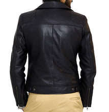 Load image into Gallery viewer, Back look | Bonanza | Lecorium | Sheep/Lamb black premium leather jacket