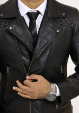 Load image into Gallery viewer, Front zoom-in look | Bonanza | Lecorium | Sheep/Lamb black premium leather jacket