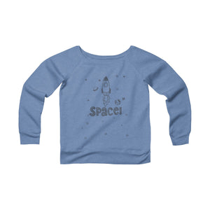 Space Women's Sponge Fleece Wide Neck Sweatshirt