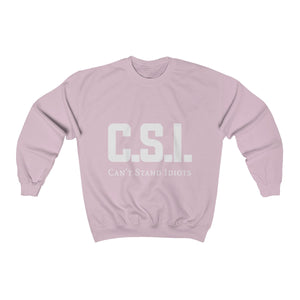 CSI White font Unisex Heavy Blend™ Crewneck Sweatshirt