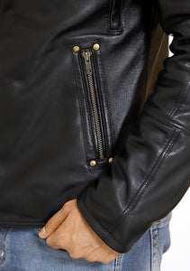 Front zoom-in look | Ranger | Lecorium | Sheep/Lamb black premium leather jacket