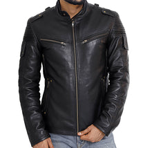 Load image into Gallery viewer, Front look | Ranger | Lecorium | Sheep/Lamb black premium leather jacket