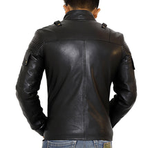 Load image into Gallery viewer, Back look | Ranger | Lecorium | Sheep/Lamb black premium leather jacket