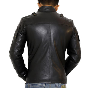 Back look | Ranger | Lecorium | Sheep/Lamb black premium leather jacket