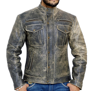 Front look | Reckless | Lecorium | cow black rub-off premium leather jacket