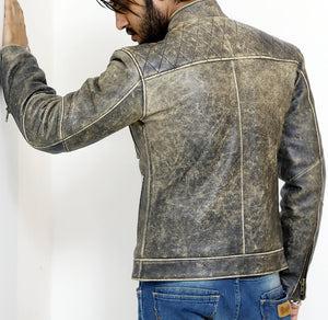 Back look | Reckless | Lecorium | cow black rub-off premium leather jacket
