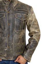 Load image into Gallery viewer, Front zoom-in look | Reckless | Lecorium | cow black rub-off premium leather jacket