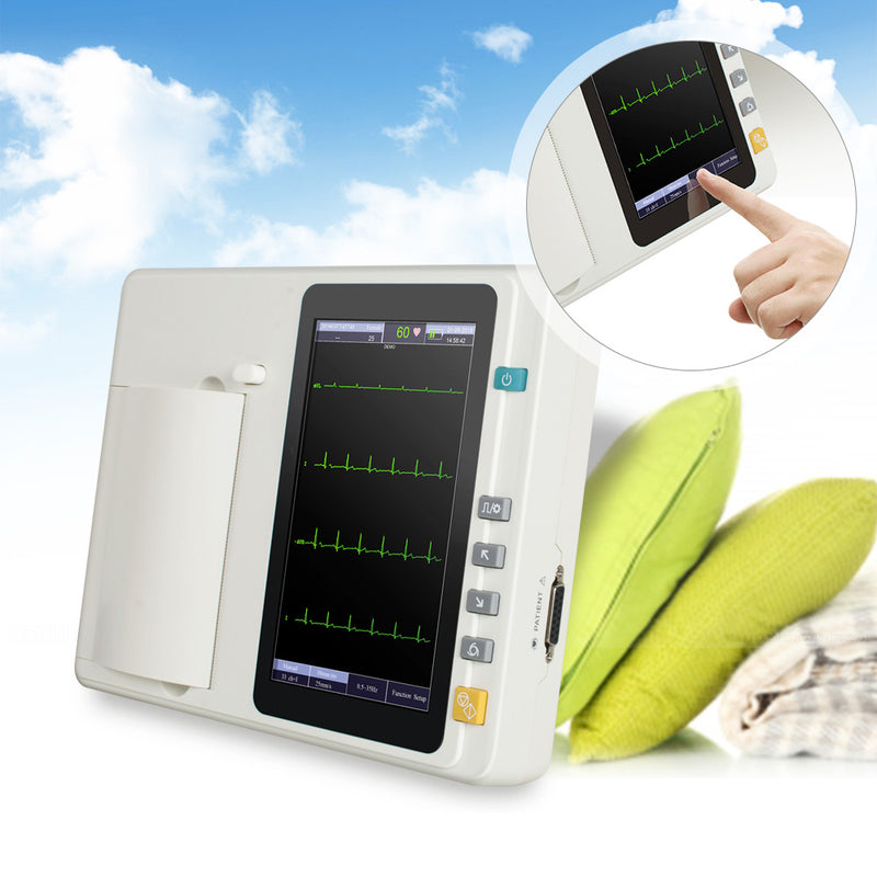 Portable 7'' LCD Touch Screen Digital 6 Channel Electrocardiograph ECG/EKG Machine