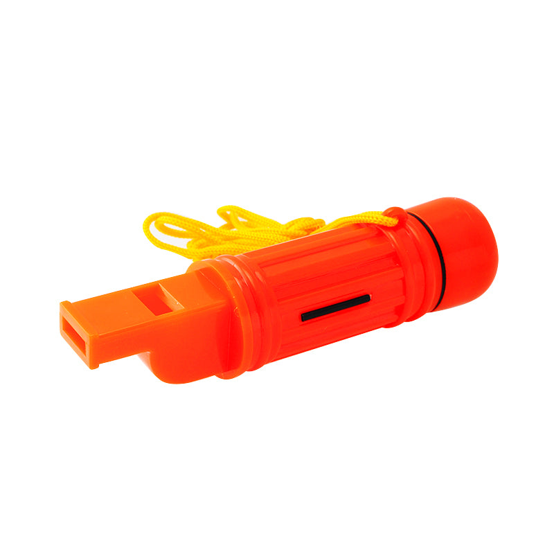 Outdoor 5 in 1 Camping Emergency Survival Whistle  Compass Flint Capsule Mirror