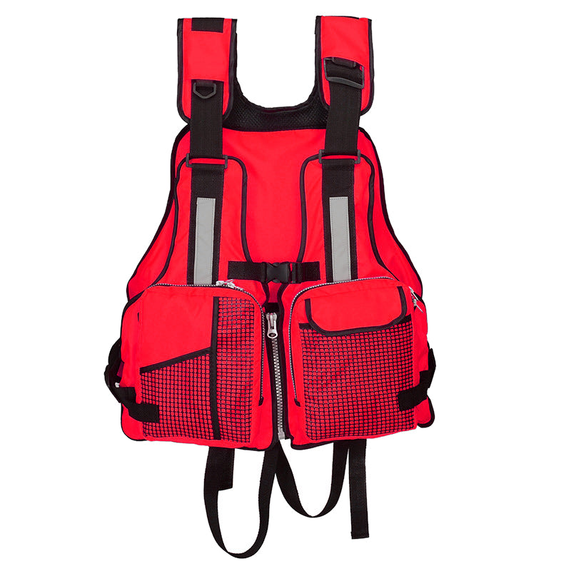 Fishing Life Jacket Watersports Life Jacket with Multi-Pockets Whistle and Reflective Stripe