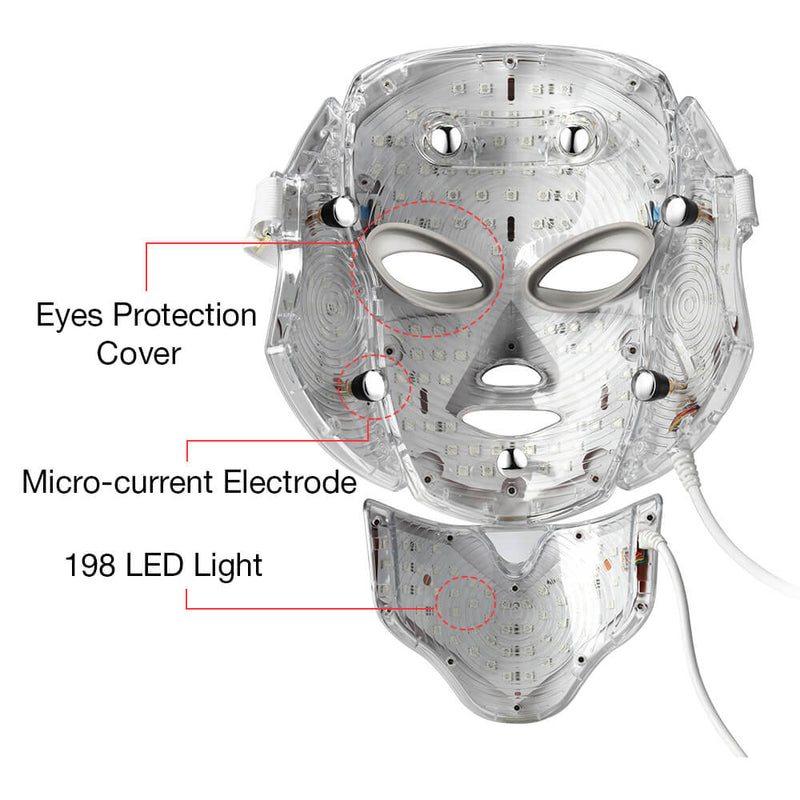7 Colors LED Light Photon Facial Neck Mask