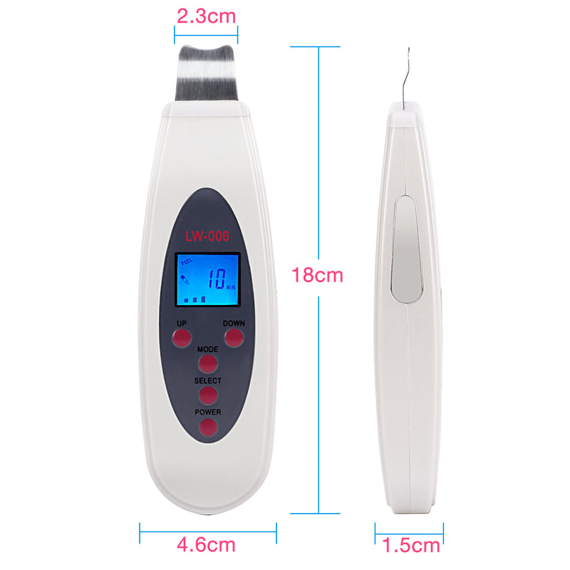 Mini Ultrasonic LCD Digital Facial Skin Care Scrubber Peeling Cleaners Machine