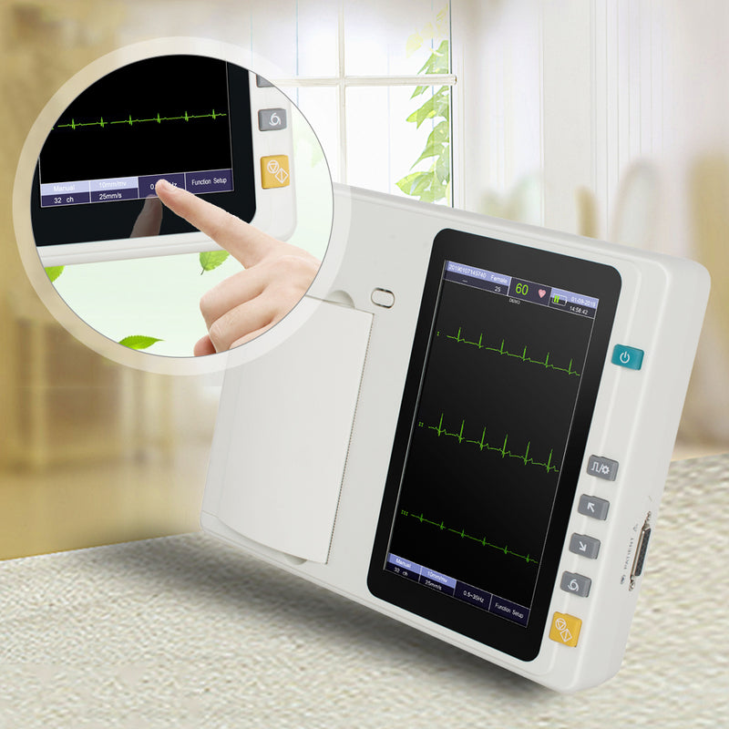 Portable 7'' LCD Touch Screen Digital 3 Channel Electrocardiograph ECG/EKG Machine