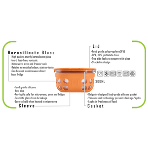 Borosilicate Glass Lunch Box-Set Of 2- with Canvas Carry Bag  - Tintbox