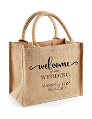 Burlap Jute Tote Bags wedding welcome gifts