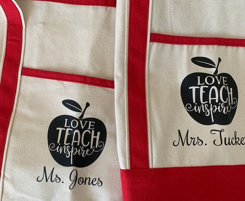 Custom Teacher Appreciation Gift, Personalized Canvas Tote Bags