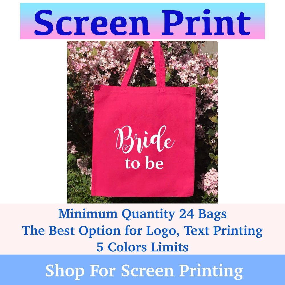 Custom Screen Printed Canvas Cotton Reusable Tote Bags Wholesale