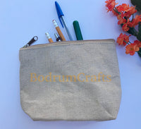 "10"" Jute Large Makeup Bag, Pouch Purse Cosmetic Organizer Wholesale Bulk"