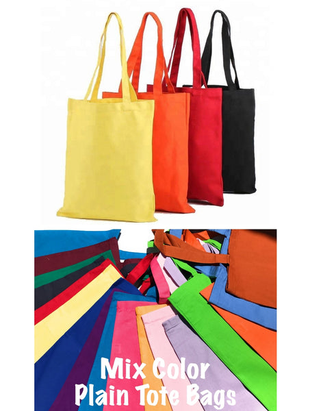 12 Eco-Pack Assorted Mix Color Wholesale Cotton Tote Bags in Bulk