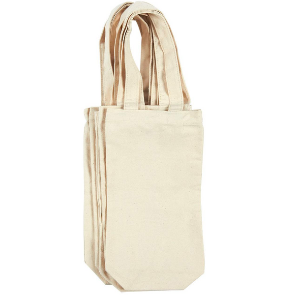 6 Pack Canvas Wine Bags, Wine Carrying Bags