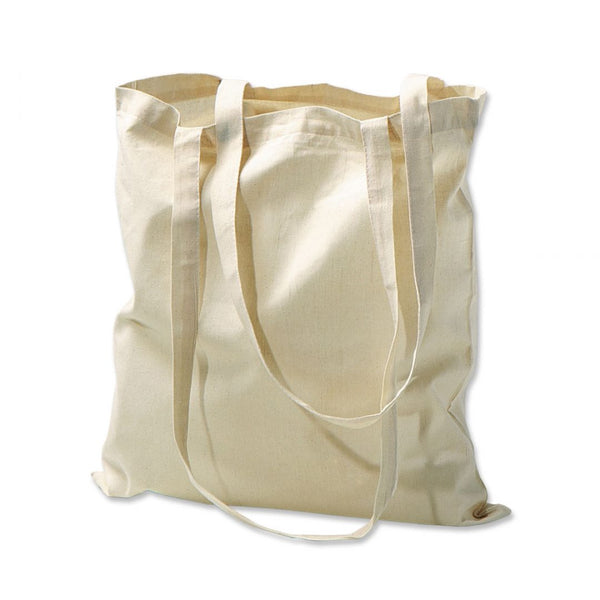 "Long Handle Natural Cotton Tote Bags, Flat, TBG01 (15"" x 16"")"