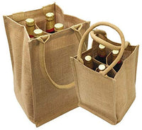 (4 Bottles) Natural Jute Wine Tote With Dividers